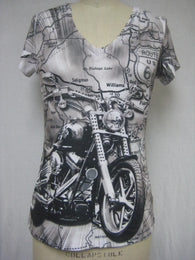 V-NECK / ROUTE 66 / MOTORCYCLE - SUBLIMATION T-SHIRT - MADE IN USA