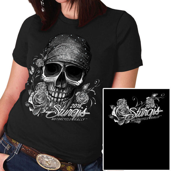 STURGIS BANDANA SKULL FULL CUT LADY SHIRT - BLACK