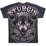 STURGIS 2017 - SS LONE WOLF JUMBO BACK PRINT - DOUBLE SIDED - DARK HEATHER