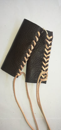 HAND MADE LEATHER THROTTLE TASSEL -  DARK BROWN WITH BEIG LACE