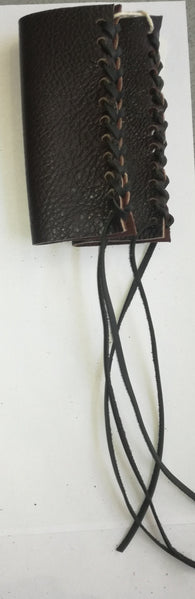 HAND MADE LEATHER THROTTLE TASSEL -  DARK BROWN WITH BLACK LACE