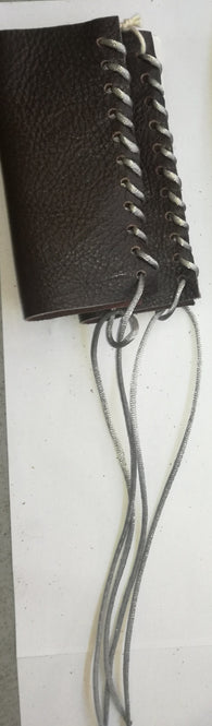HAND MADE LEATHER THROTTLE TASSEL -  DARK BROWN WITH SILVER LACE