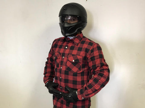 METALIZE FLANNEL SHIRT RED - BLACK