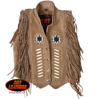 LADY'S LEATHER VEST BONE BEADS & FRINGE - DISTRESSED BROWN