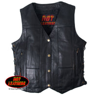 LADIES TEN POCKET LEATHER VEST - BLACK