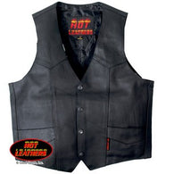 LINED MEN'S LEATHER VEST - HEAVYWEIGHT COWHIDE