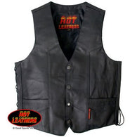 SIDE LACE MEN'S LEATHER VEST - HEAVYWEIGHT COWHIDE