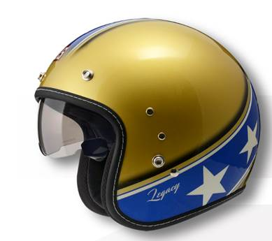 ZEUS OPEN FACE HELMET- GOLD-BLUE - STARS