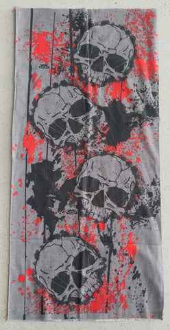 BUFF1/FACE MASK/NECK WARMER - SKULL - GREY/RED