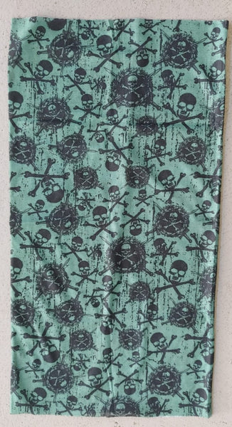 BUFF6/FACE MASK/NECK WARMER - MIX SKULL ON AQUA
