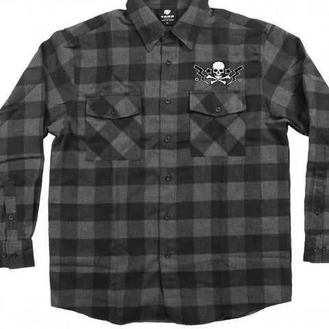 FLANNEL SKULL BOLTS LONG SLEEVE MEN'S SHIRT