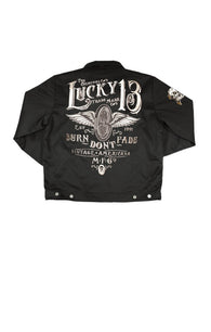 THE BURN DON'T FADE MEN'S - LINED BOMBER JACKET - LUCKY 13 SINCE 1991