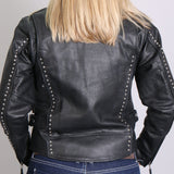 LADIES LEATHER JACKET WITH ROUND STUDS