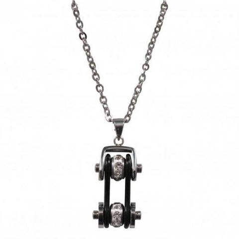 NECKLACE BIKE CHAIN BLK/BLING - 316L stainless steel - Lady