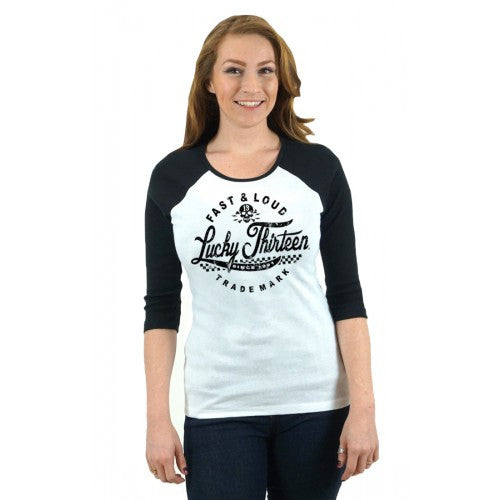 THE FAST & LOUD WOMEN'S 3/4 SLEEVE TWO TONE RAGLAN TEE - LUCKY 13 SINCE 1991