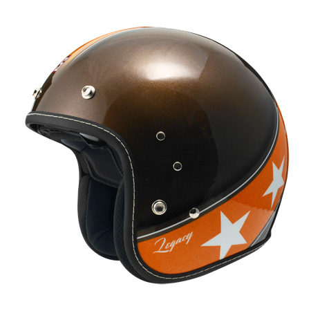ZEUS OPEN FACE HELMET- BROWN-ORANGE STARS