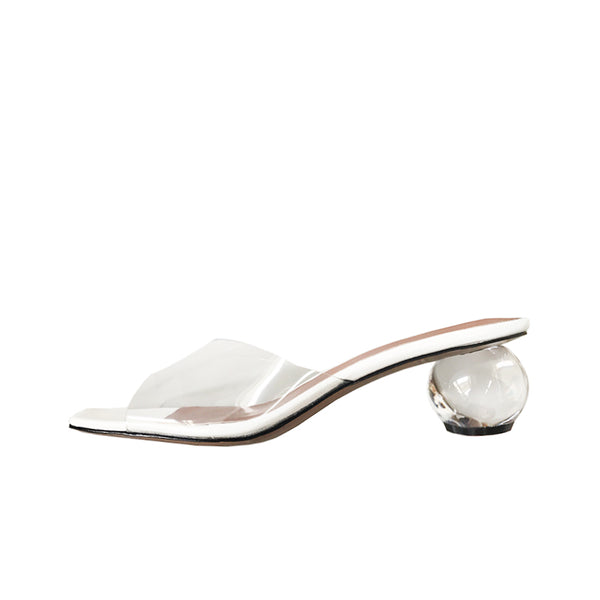 VINYL SANDAL WITH ROUND HEELED