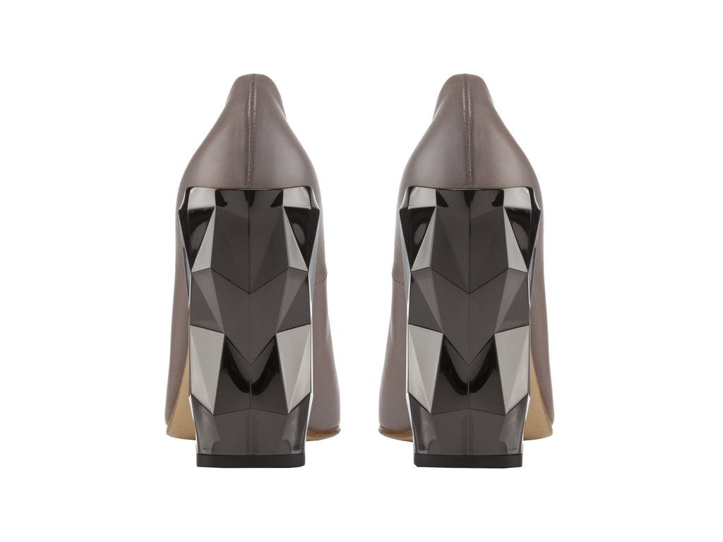 Chanda Grey Nappa Leather Pumps back view