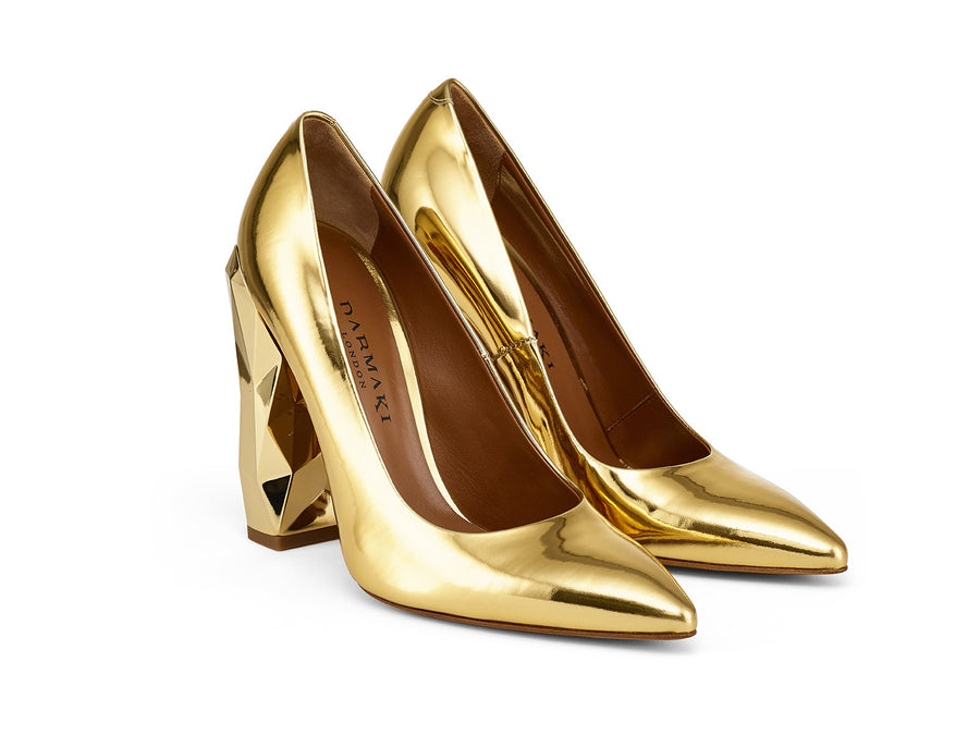 Chanda Gold Mirrored-Leather Pumps angle view