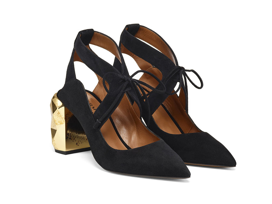 Cecil Black Suede Leather Pumps side view
