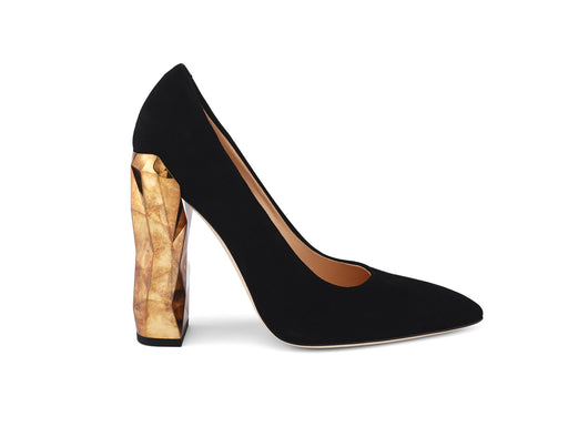 Chanda Black Suede Leather Pumps side view