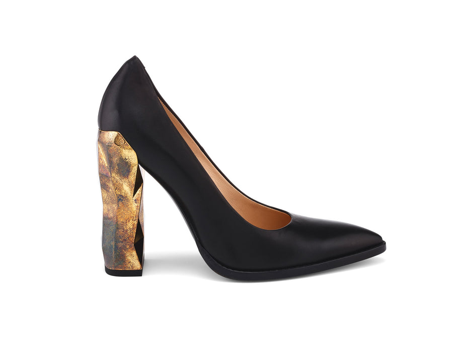 Chanda Black Nappa Leather Pumps side view