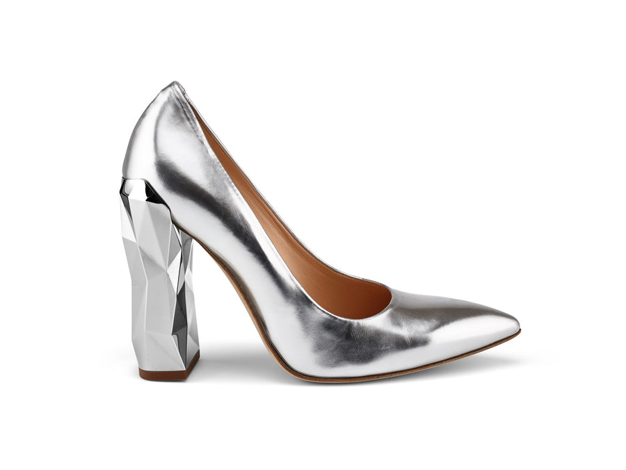 Chanda Silver Mirrored-Leather Pumps angle view