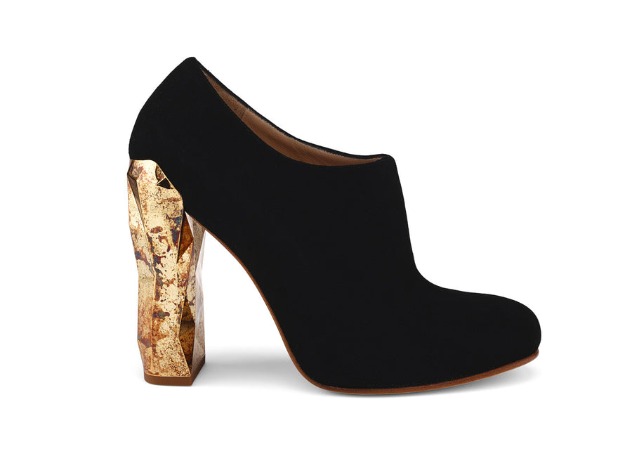 Edra Black Suede Leather Ankle Boots side view