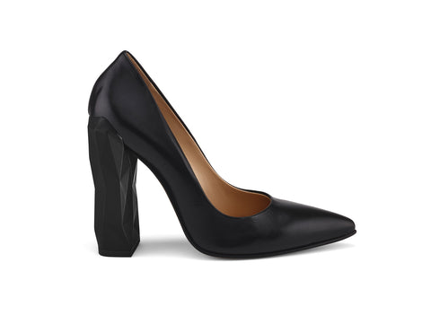 Chanda Chic black nappa leather pumps side view