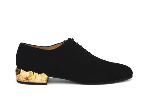 Alexis Luxe black suede leather oxford shoes side view