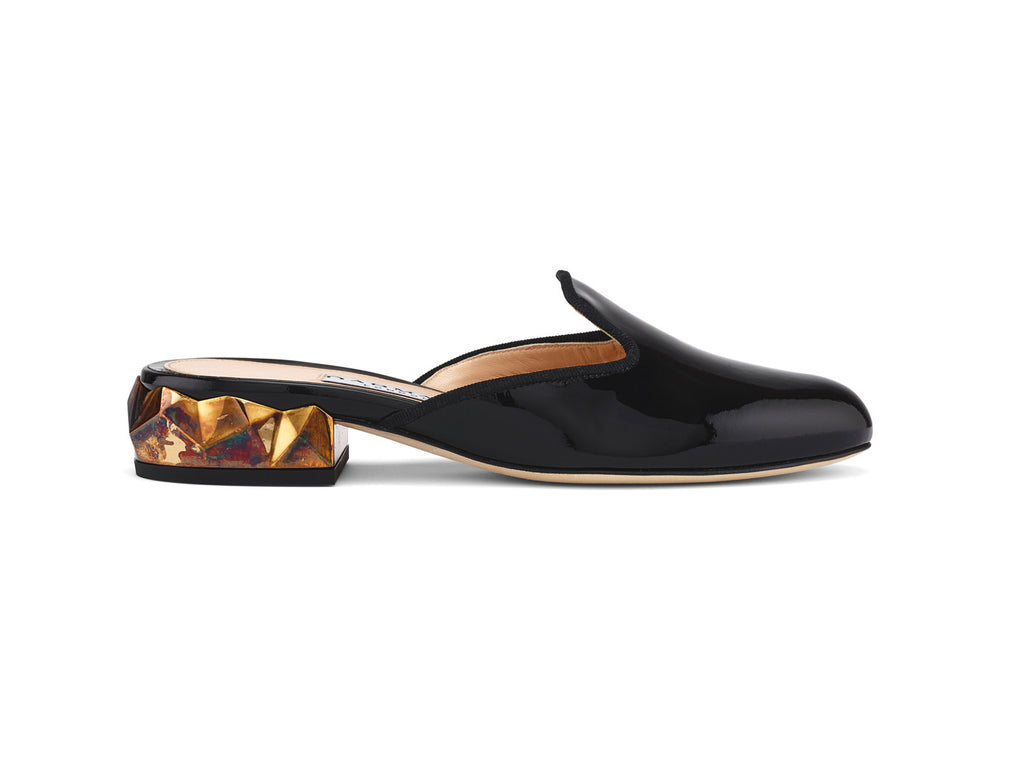 Ren Black Patent Leather Slippers side view