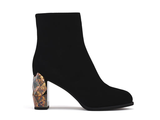 Bakko Black Suede Leather ankle boots side view