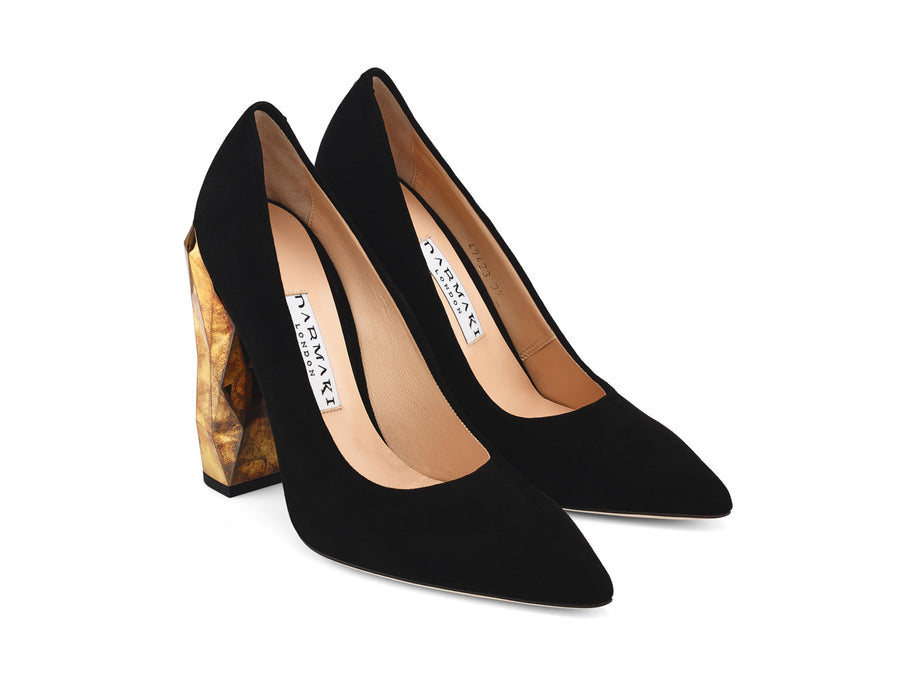 Chanda Black Suede Leather Pumps angle view