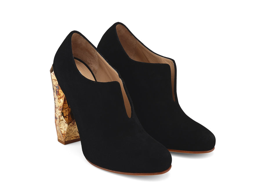 Edra Black Suede Leather Ankle Boots angle view