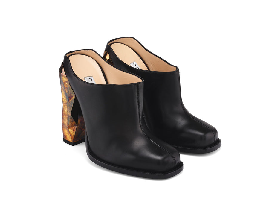 Elie Black Nappa Leather Mule side view