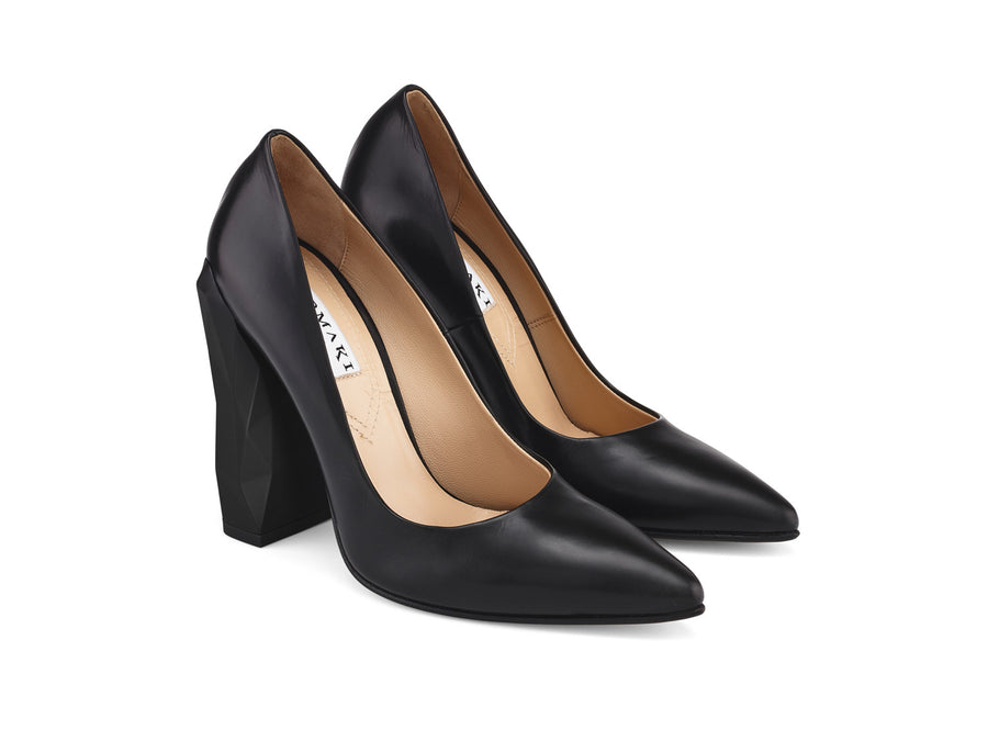 Chanda Black Nappa Leather Pumps angle view