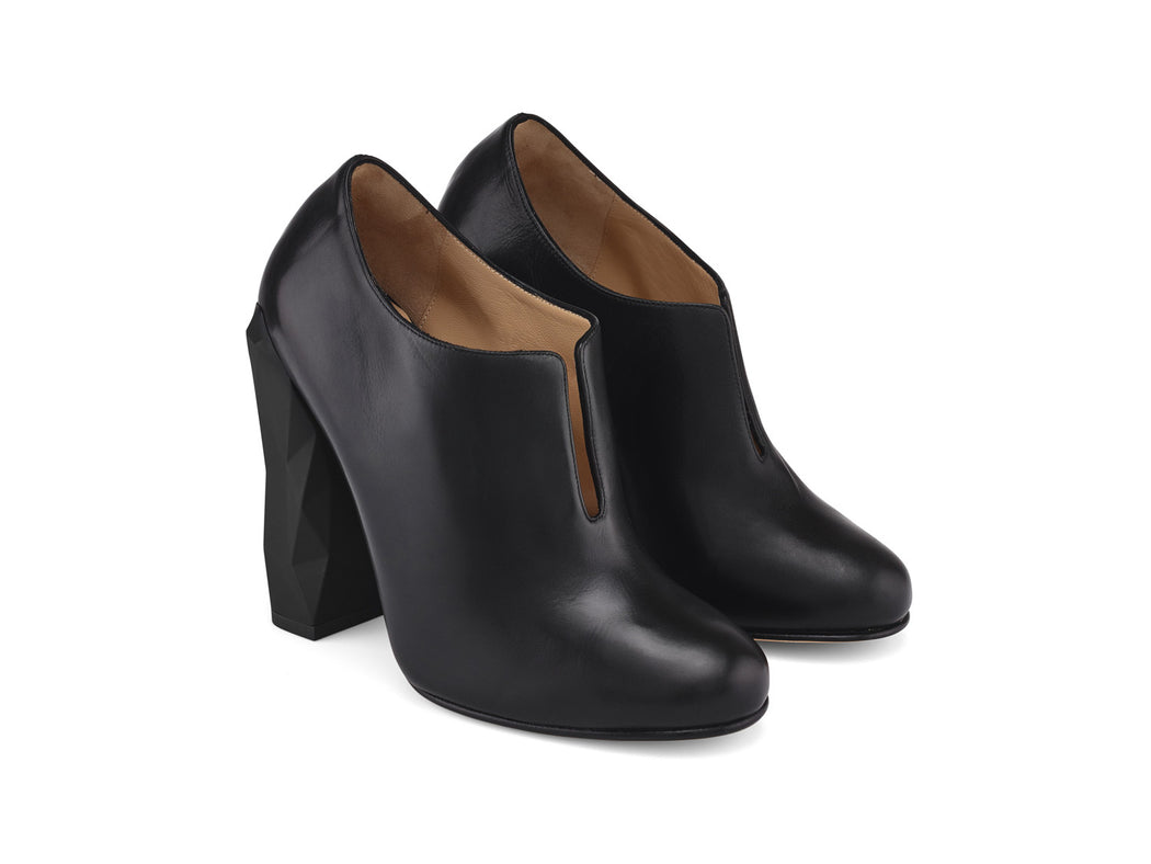 Edra Black Nappa Leather Ankle Boots angle view