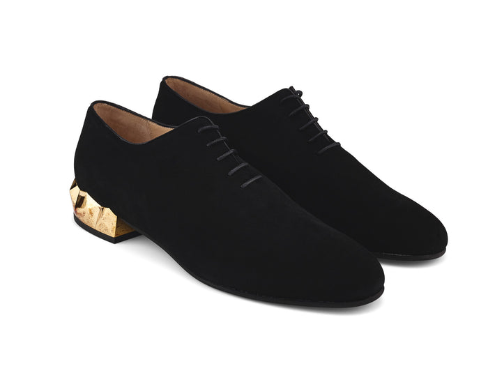 Alexis Luxe black suede leather oxford shoes angle view