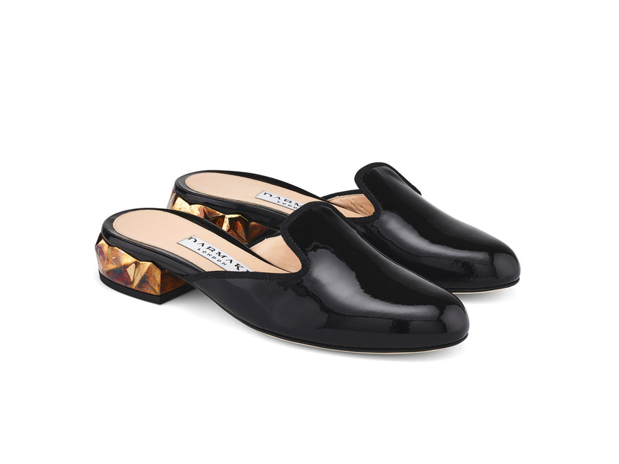 Ren Black Patent Leather Slippers angle view