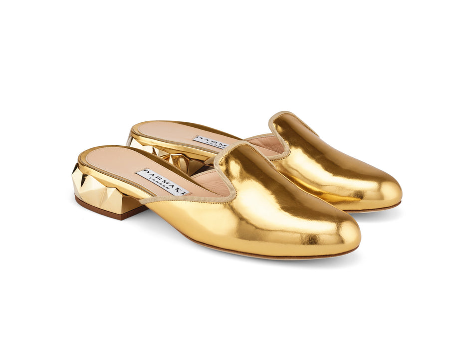 Ren Gold Mirrored-Leather Slippers angle view