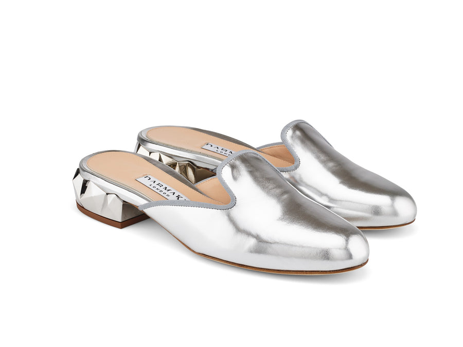 Ren Silver Mirrored-Leather Slippers angle view
