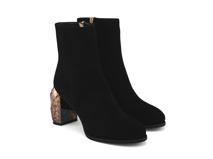 Bakko Black Suede Leather ankle boots angle view