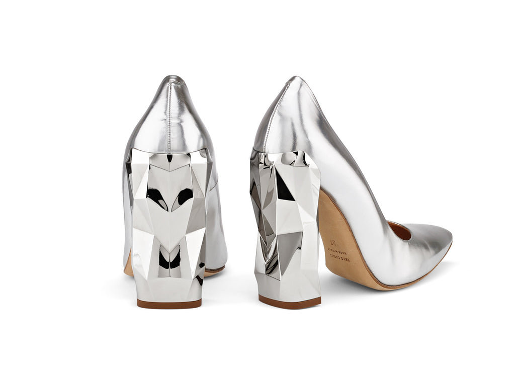 Chanda Silver Mirrored-Leather Pumps back view