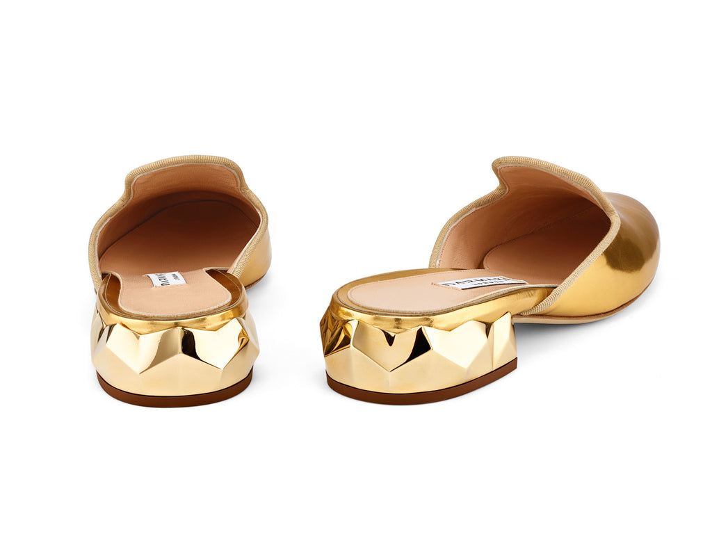 Ren Gold Mirrored-Leather Slippers back view