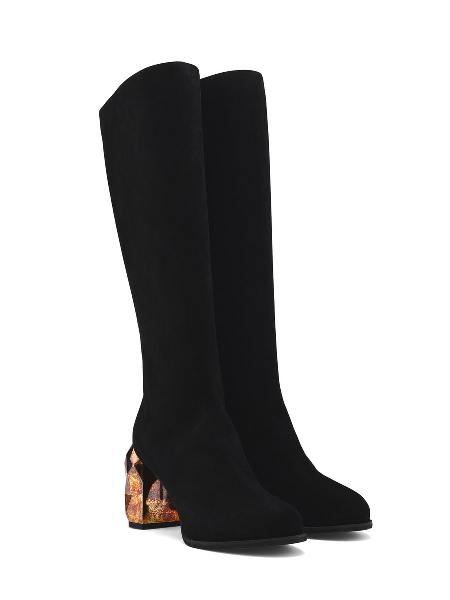 Kai Black Suede Leather Knee Boots side view