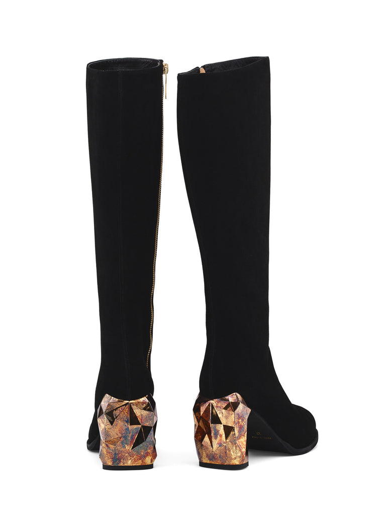 Kai Black Suede Leather Knee Boots back view