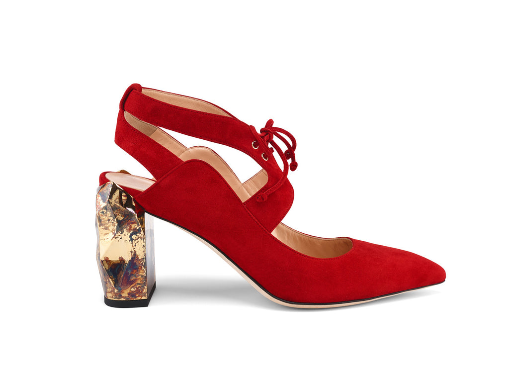 Cecil Red Suede Leather Pumps side view