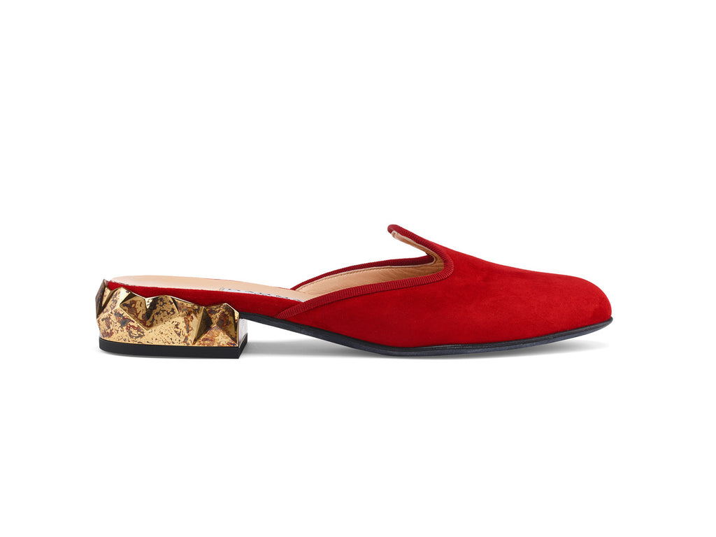 Ren Red Suede Leather Slippers side view