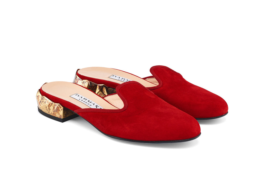 Ren Red Suede Leather Slippers angle view