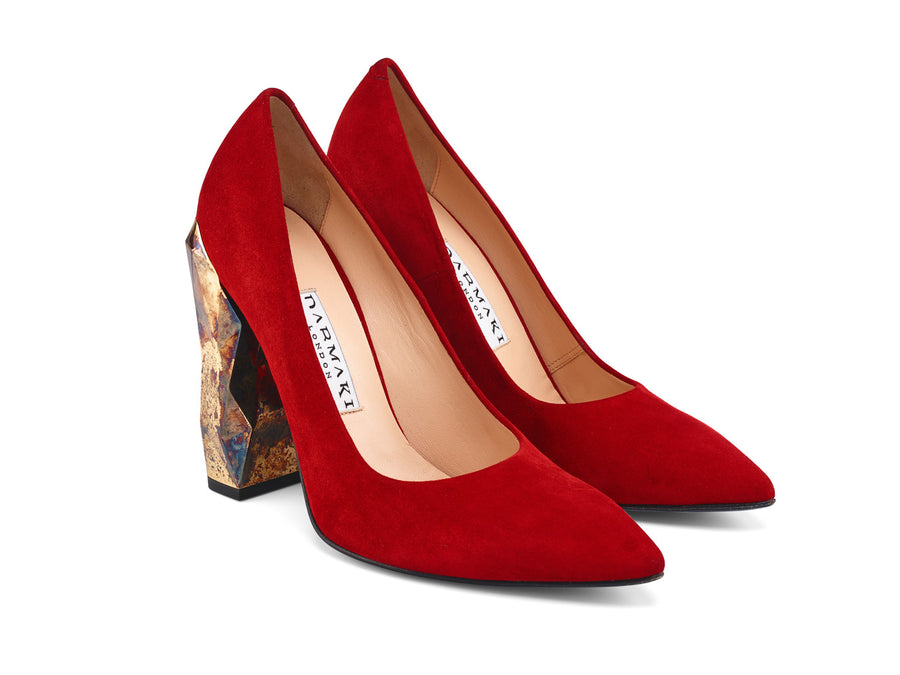 Chanda Red Suede Leather Pumps side view